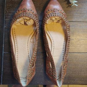 Frye brown leather flats with gold studs